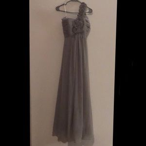 Gray One Shoulder Bridesmaids Dress